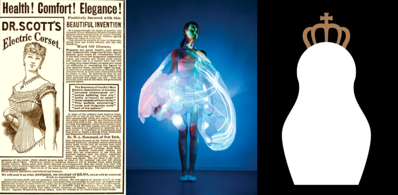 Image credits: An advertising of 'Electric Corset' by Dr. Scott; Bubelle e-dress by Philips Design