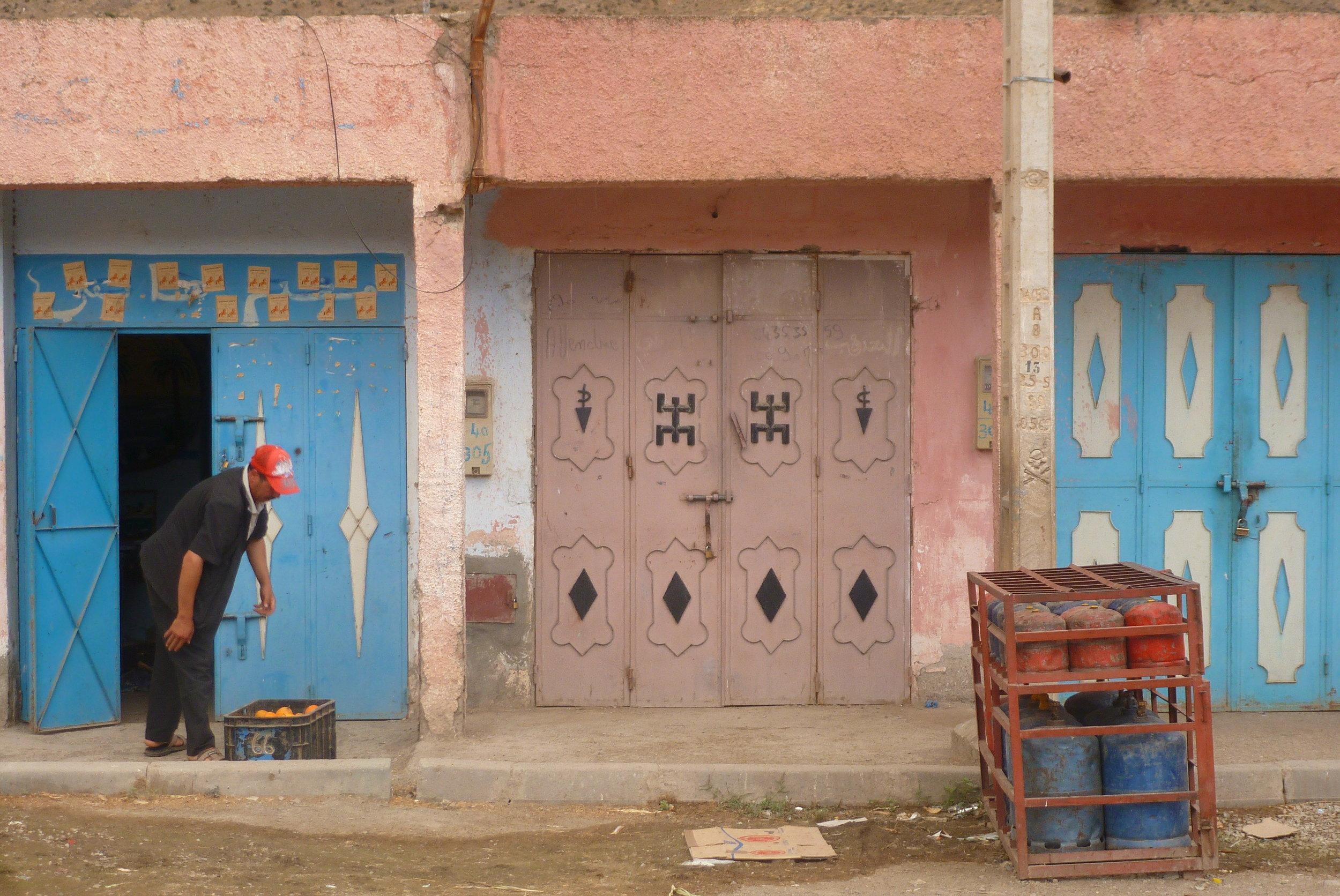 Amazigh symbols decorate a steel door in a Berber village.