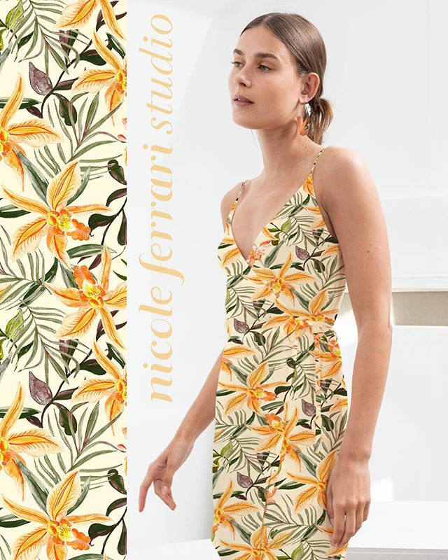 New tropical Prints in the collection — here is a preview of how one of them on a light summery wrap dress 🌿🌴🌼 get in touch with us if you'd like to view the collection! 📩 nicole@nicoleferraristudio.com #new #designs #summer #collection #prints #pattern #tropical #handrawn #painted #repeat #textiledesign #textiles #nicoleferraristudio #contact #summertime #fashion #swimwear #readytowear #inside #trends #colorful