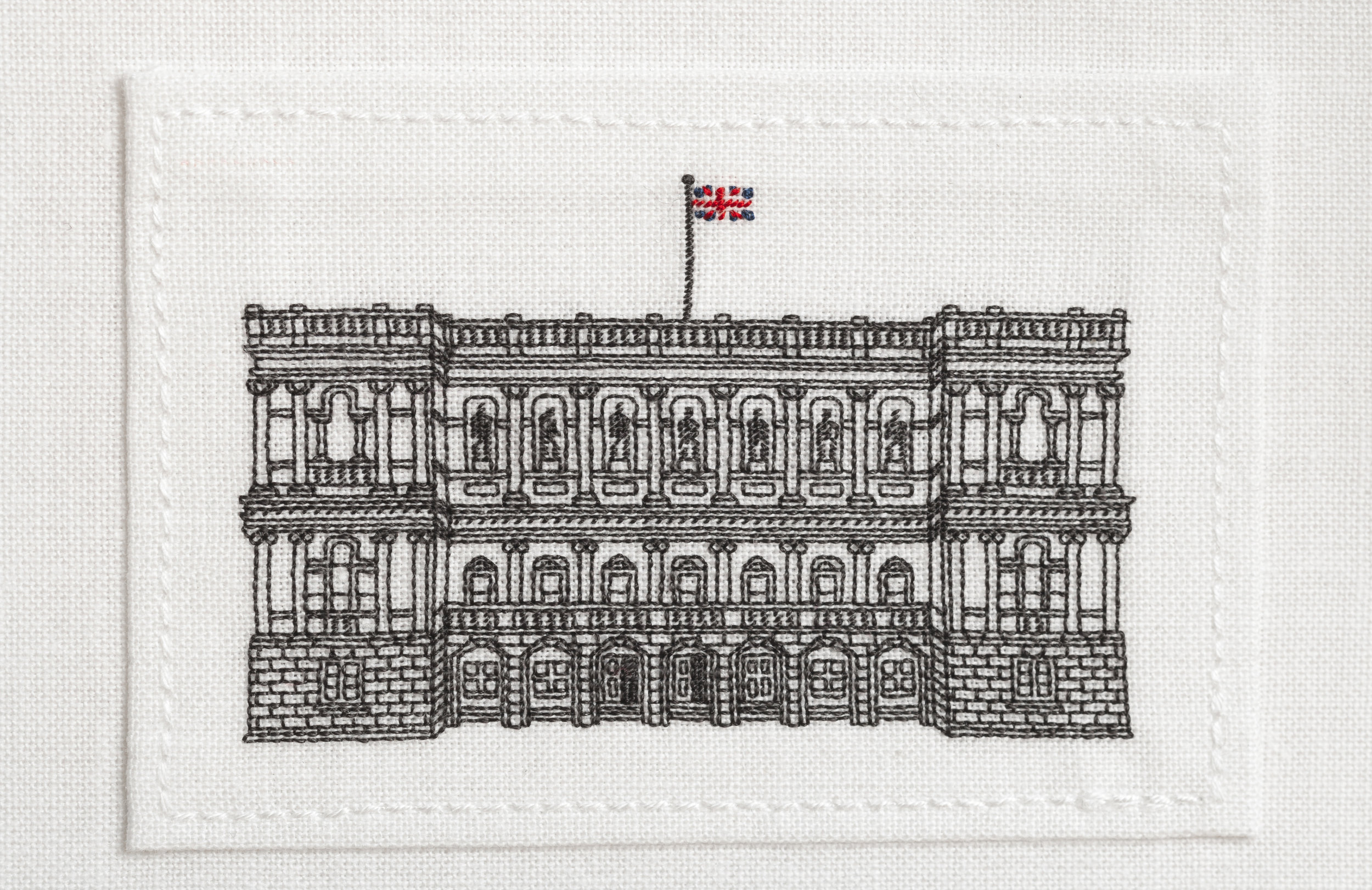 Hand stitched miniature of Burlington House, Piccadilly, London