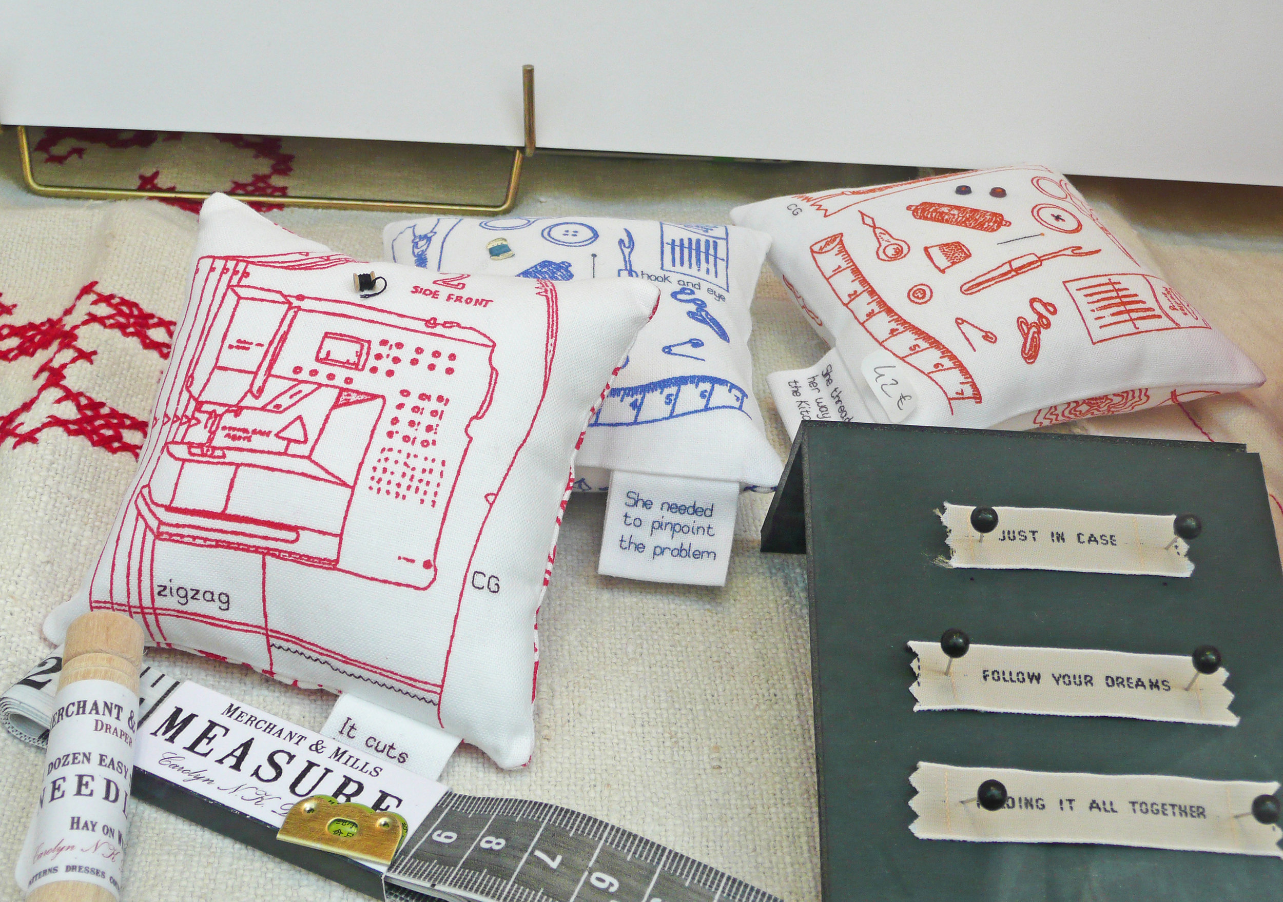 Pin cushions in window of Home Autour du Monde, Paris (sold out)