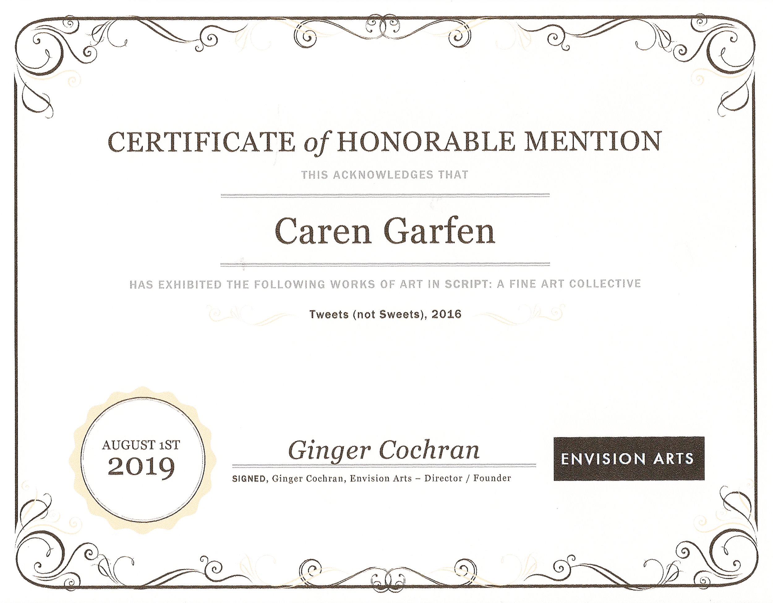 Awarded on 31 July 2019
