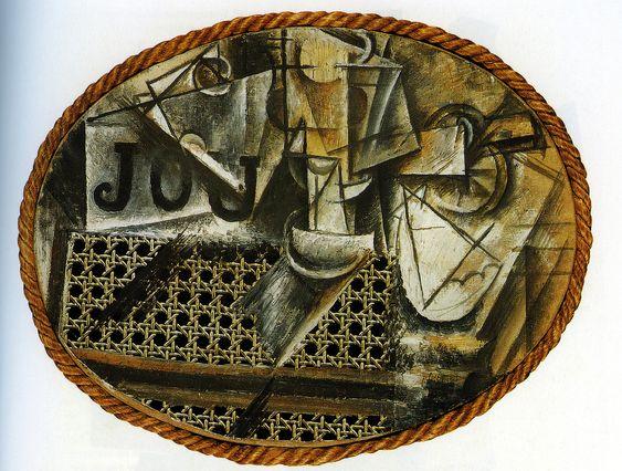 První papírová koláž vůbec.  Nature-morte à la chaise cannée , 1912, kombinovaná technika, 27x35 cm, Muzeum Pabla Picassa v Paříži. Zdroj: Pinterest