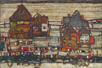 Domy s barevným prádlem - Předměstí II (Häuser mit Bunter Wäsche - Vorstadt II), 99 x 119 cm, olej na plátně, 1914. Zdroj:  The Wall Street Journal