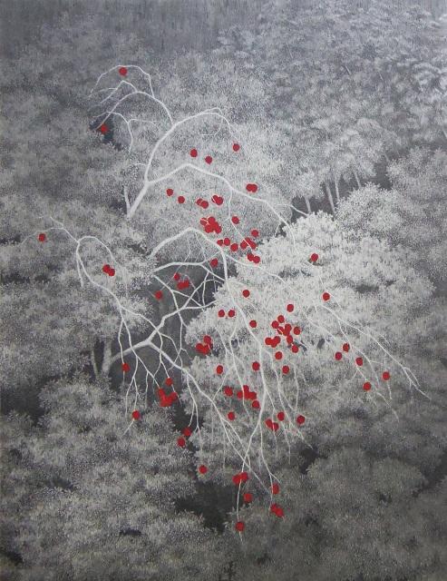 "Tanaka Ryohei, 717 Houština s ovocem kaki, 2007, lept a akvatinta, edice 90/100, velikost obrazu: 16 ""x 11"", v soukromé sbírce. Zdroj: White Lotus Gallery"