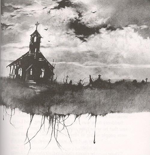 Ilustrace od Stephena Gammela z knihy Scary Stories to Tell in the Dark. Zdroj: Pinterest