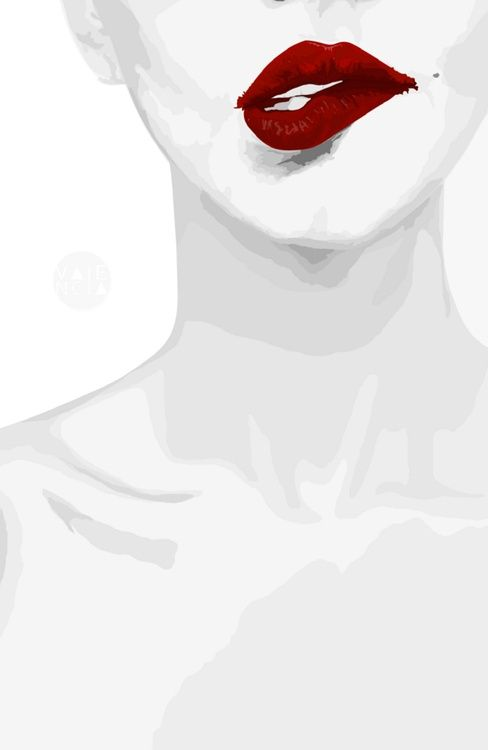 Zdroj: Smirk Red Lips by Valencia Pierre, art print.  www.society6.com