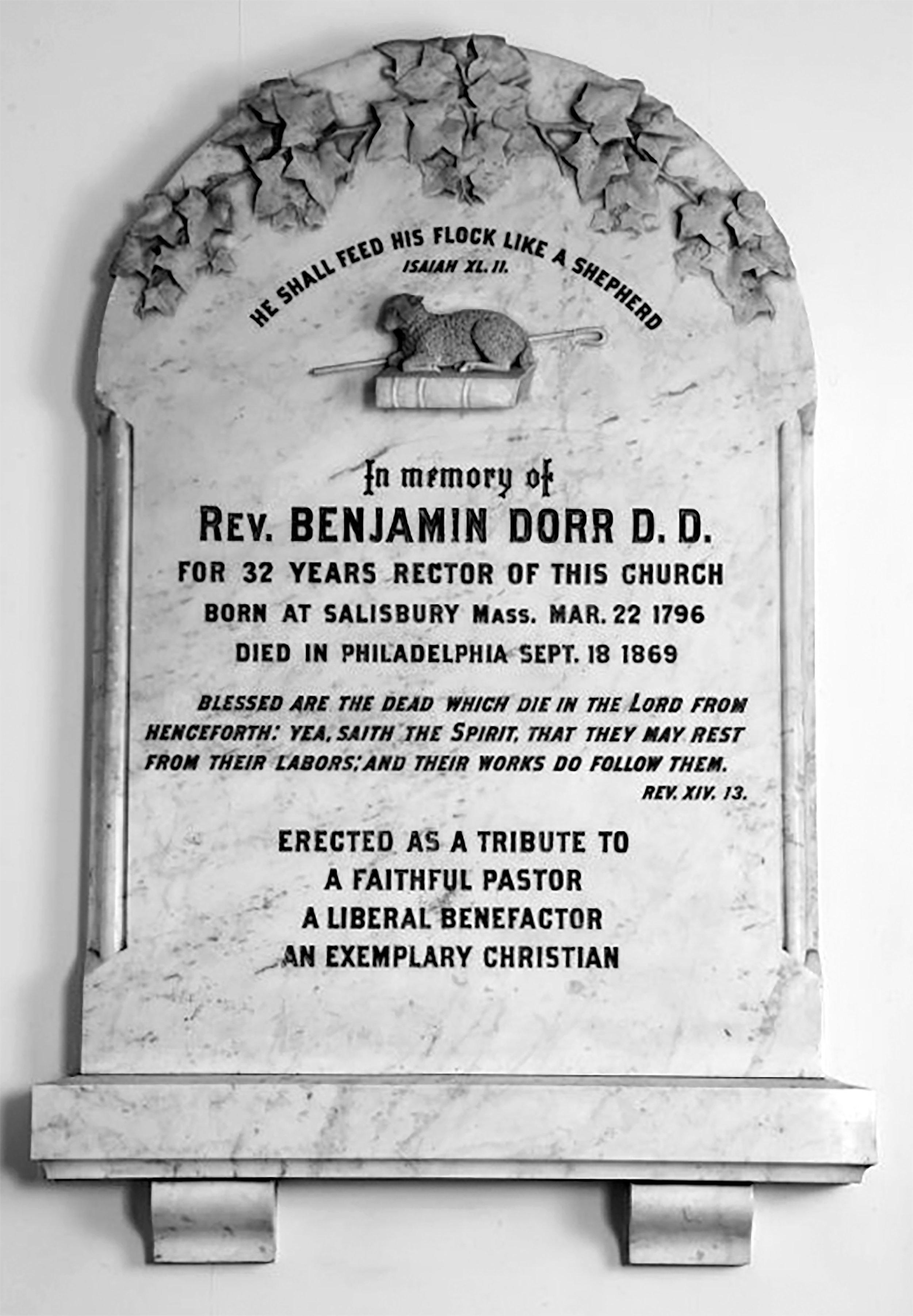 Memorial to Rev. Benjamin Dorr.Courtesy of Philadelphia's Christ Church. Photo by Will Brown.