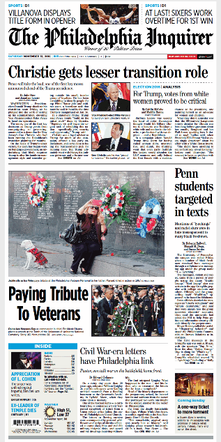 Read:  PURE HEART featured on the cover of the Saturday, November 12, 2016 edition of the  Philadelphia Inquirer . Read the full story   online  .