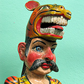 Mexican puppets relating to tiger dances and rituals.