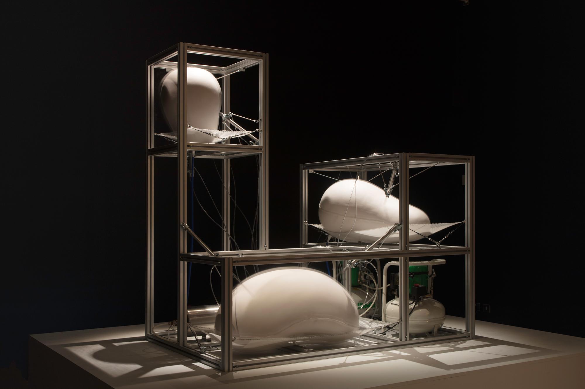 Harrison Pearce, Defence Cascade, Silicone, aluminium, pneumatics, 186 x 180 x 120, 2018.jpg