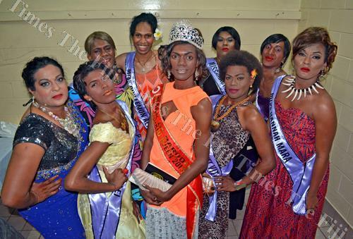 Adi Senikau contestants with 2015 Adi Senikau winner Agu Tuinasau last night. Picture: JONACANI LALAKOBAU