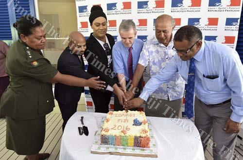 From left: Republic of Fiji Military Forces chief-of-staff Colonel Litea Seruiratu, Ashwin Raj, Sulique Waqa, French ambassador Michel Djokovic, former President of Fiji Ratu Epeli Nailatikau and Defence Minister Timoci Natuva during the IDAHOT celebration yesterday. Picture: RAMA