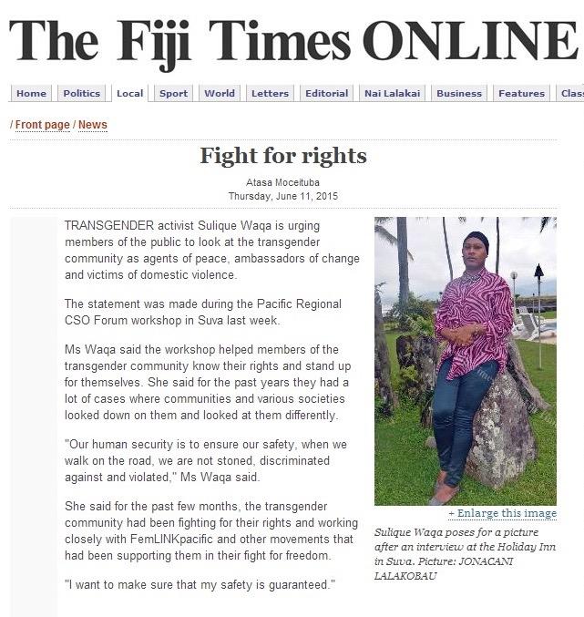 Fiji Times Article Online: Saturday, June 11, 2015