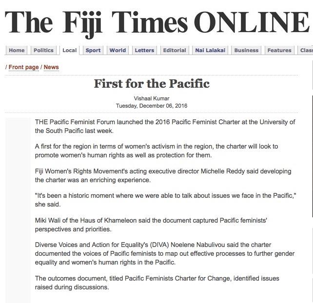 Fiji Times Online 6th December 2016