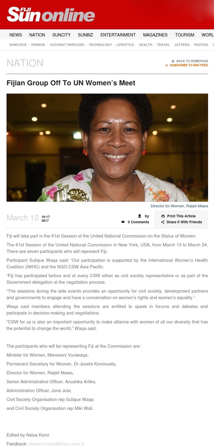 Fiji Sun Article Online: March 12th 2017