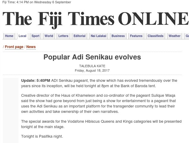 FIJI TIMES Link: August 18, 2017