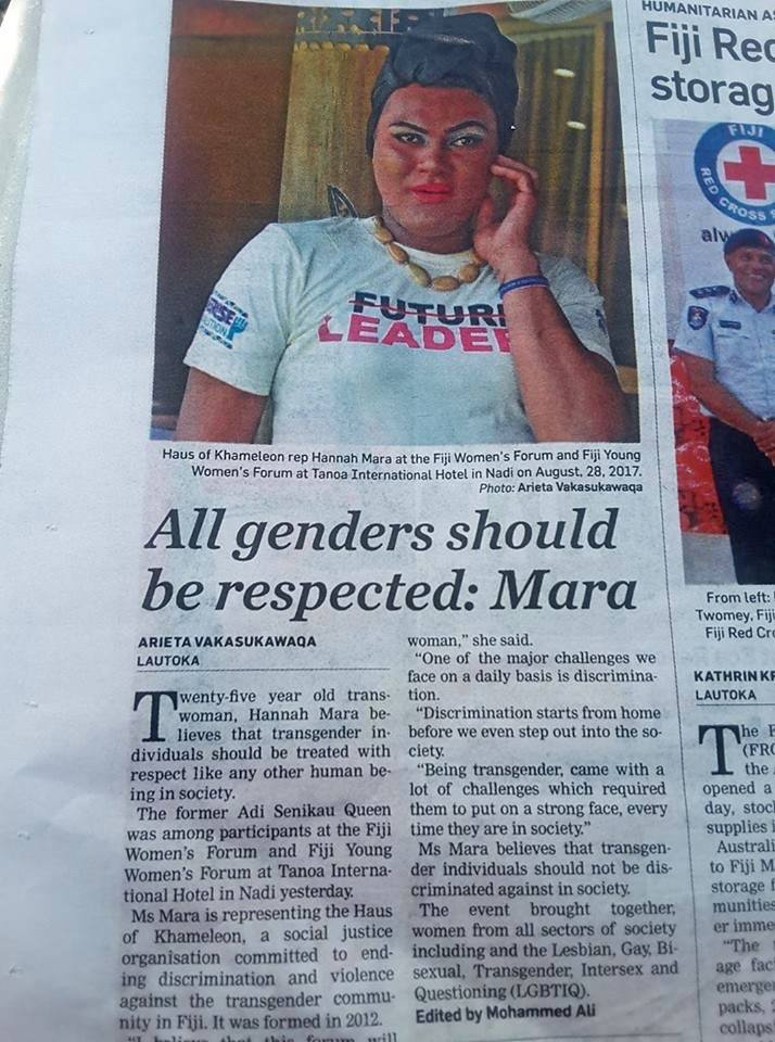 Via Fiji Sun: Haus of Khameleon rep Hannah Mara at the joined Fiji Women's Forum & Fiji Young Women's Forum 2017.