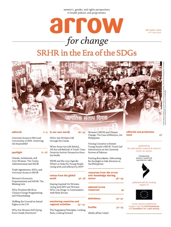 ARROW for Change: SRHR in the Era of the SDG's, Vol. 23 No. 2 2017
