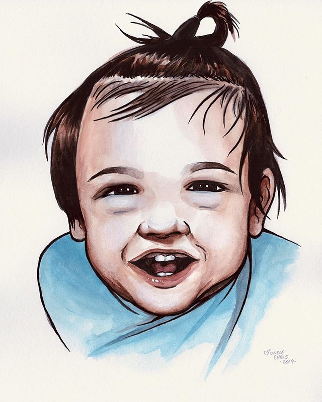 Birthday gift for baby Maxwell's first birthday last weekend. #watercolor #ink #friends