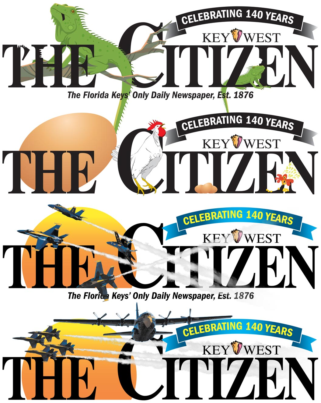 Examples of newspaper flag designs made for the Key West Citizen.