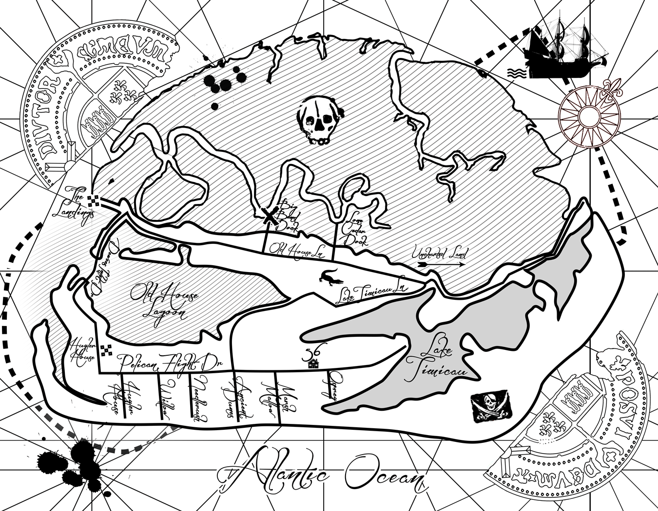 A custom map designed for a scavenger hunt event on an undisclosed island in the Atlantic ocean.  Designed in Illustrator and printed on leather.