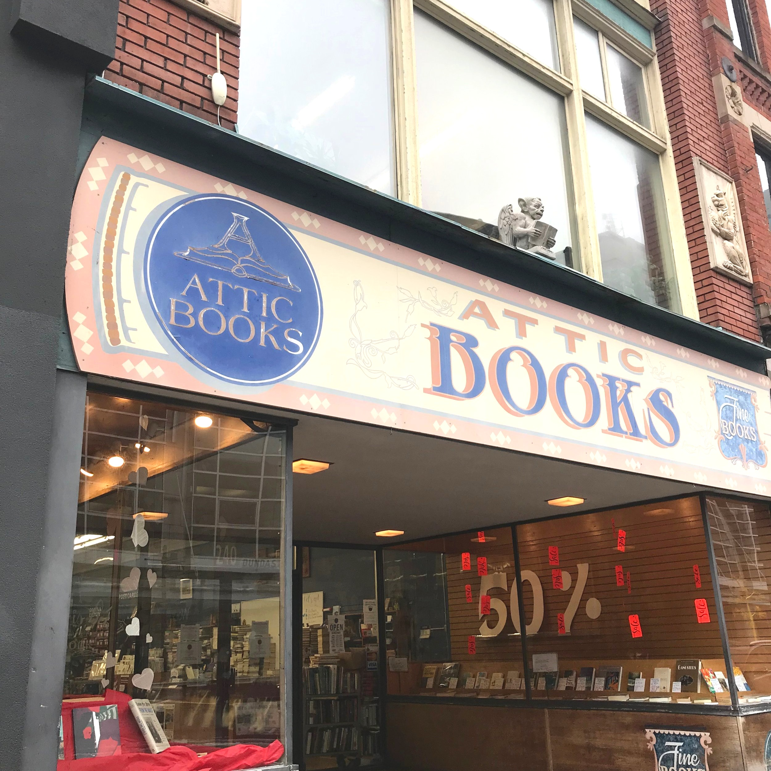 Street view of Attic Books at 240 Dundas St, London ON. Once inside, take the stairs to the 2nd floor.