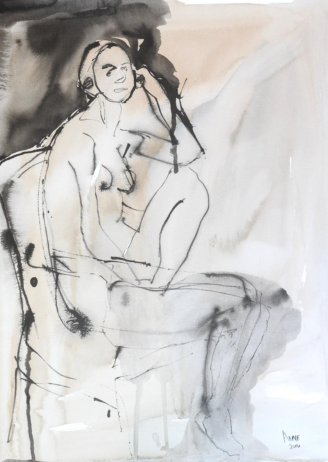 "Seated Figure | India & Walnut Ink | 18 x 24"""