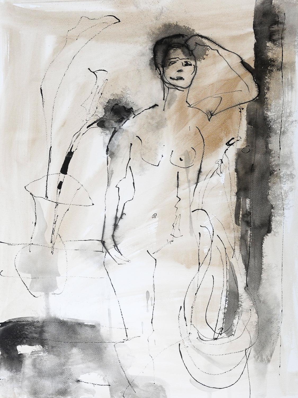 "Standing Figure II | India & Walnut Ink on Paper | 18 x 24"""