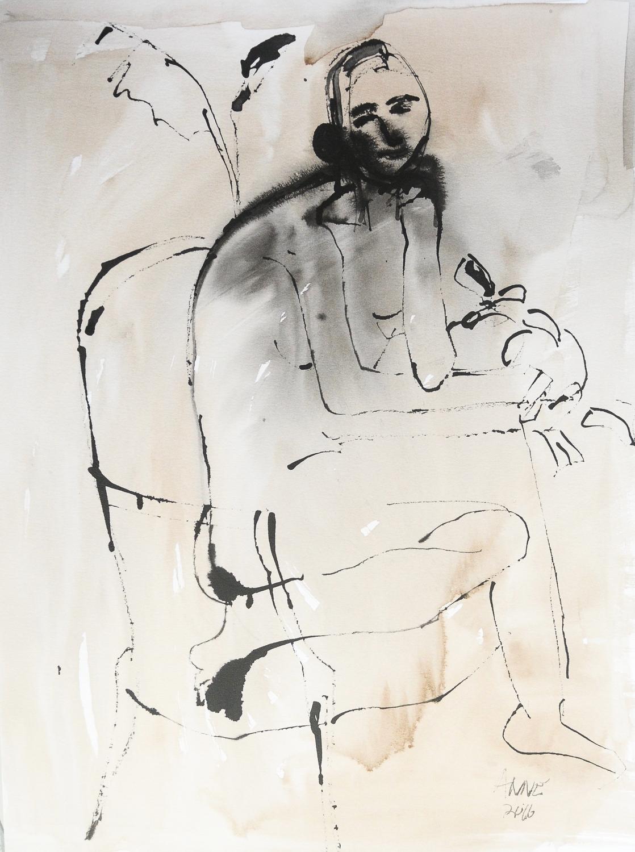 "Untitled Figure | Walnut & India Ink | 18 x 24"""