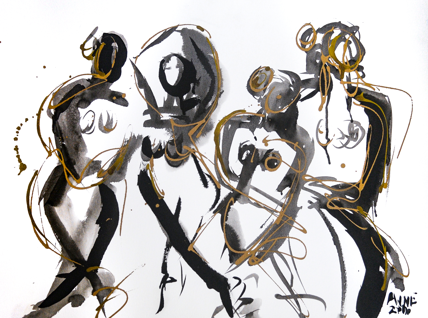 Figure Four in Gold | India Ink & Gold Acrylic | 18 x 24