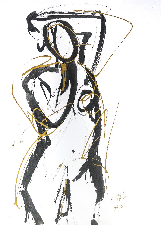 "Figure in Black & Gold II | Ink & Gold Acrylic | 18 x 24"""