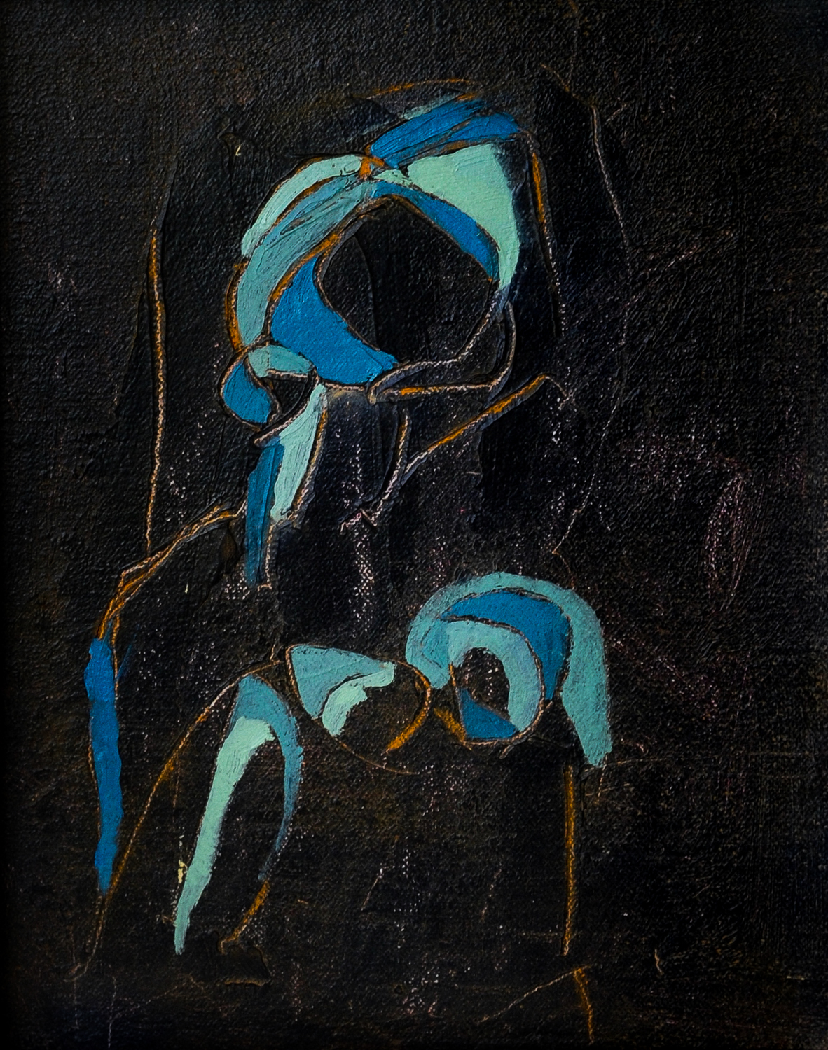 Figure in Blue II | Oil on Linen Board | 8 x 10""