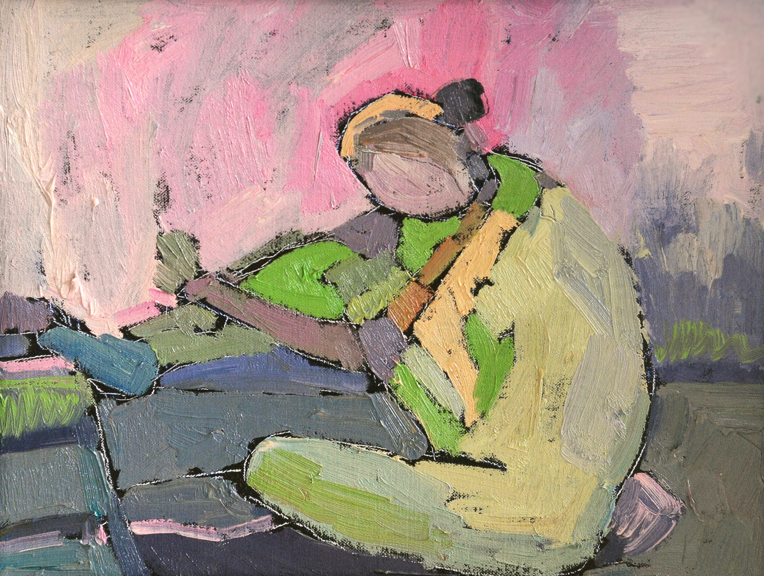 Figure in Pink | Oil on Linen Canvas | 11 x 14""