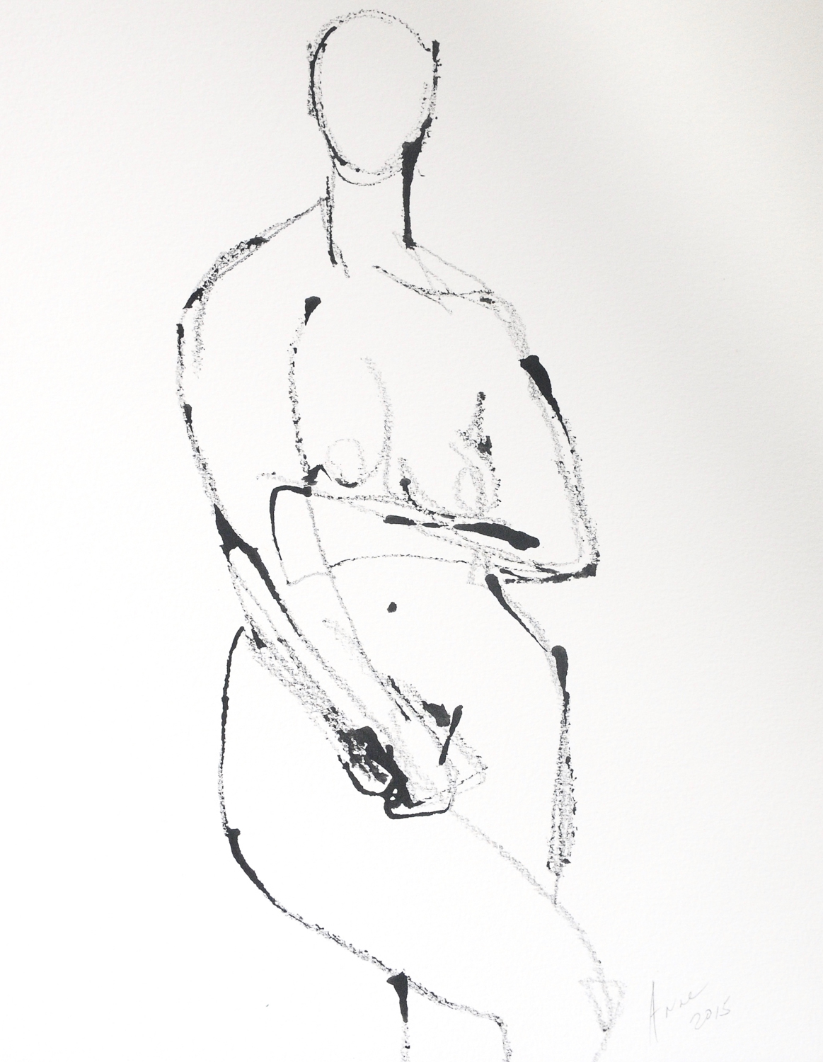 Figure in Ink | Ink on Paper | 18x24""
