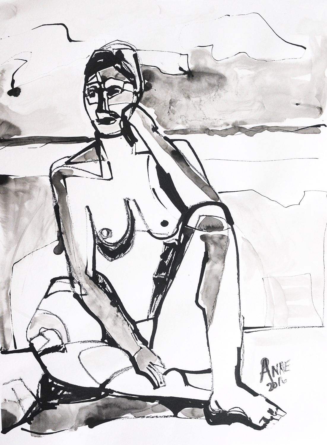 Seated Figure in Ink | Ink on Paper | 18x24""