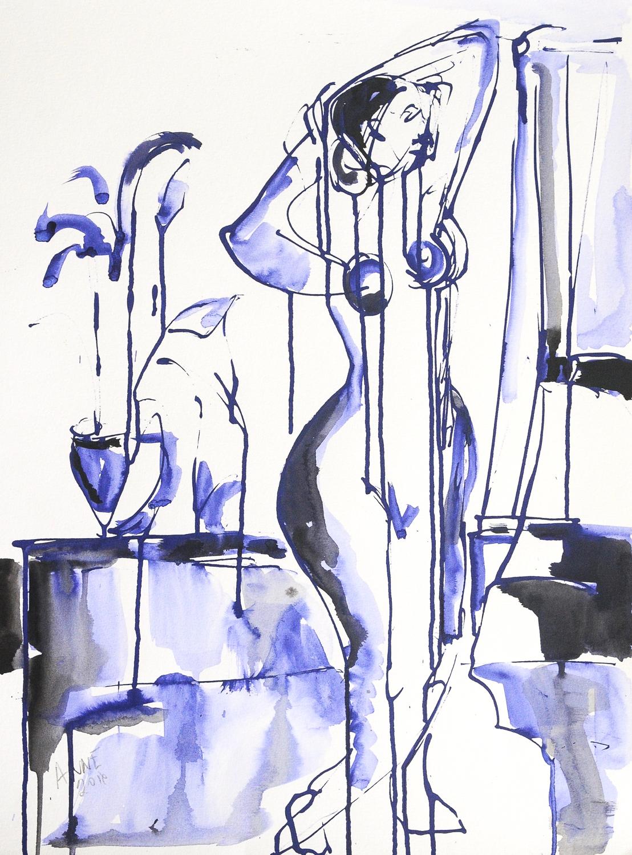 "Figure in Blue VIII | Watercolor & Ink on Watercolor Paper | 18 x 24"""
