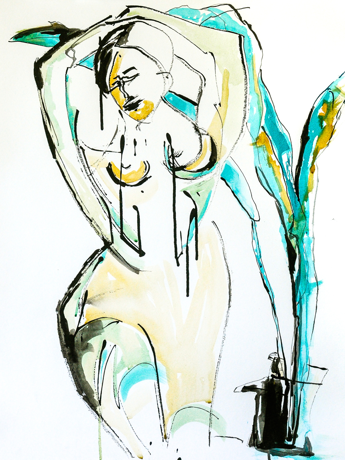 """Figure in Gold & Turquoise 