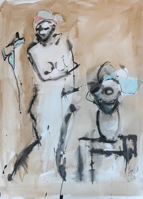"Figure with Blue Flowers | Walnut Ink & Watercolor | 18x24"""
