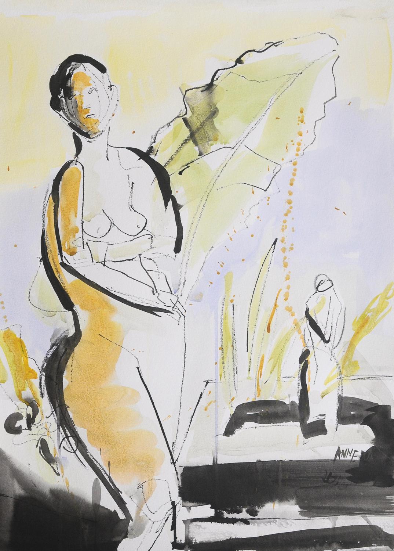 "Standing Figure | Watercolor & Ink on Paper | 18 x 24"""