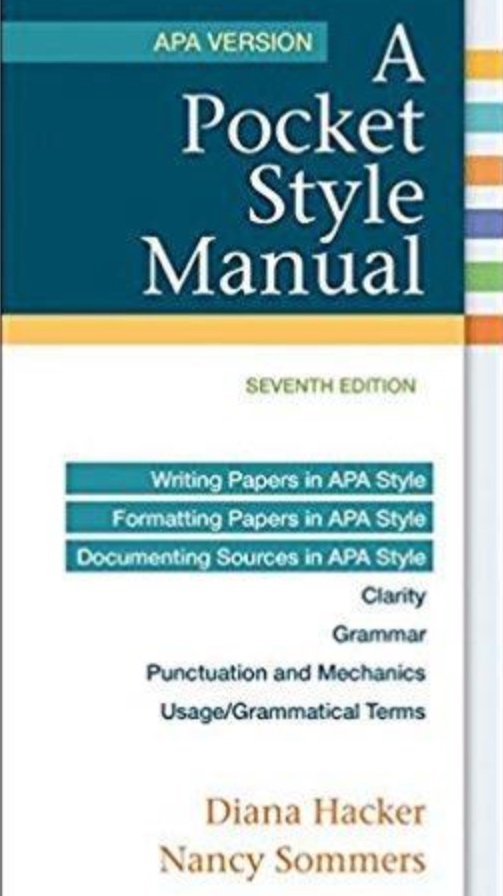 A Pocket Style Manual: APA Version   (Hacker & Sommers)    More Info