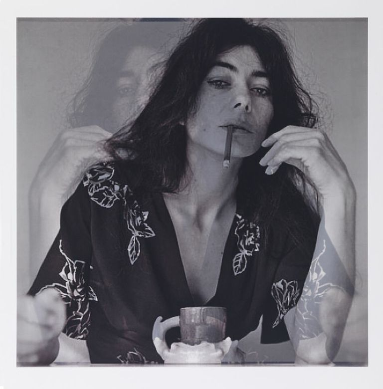 after Patricia Faure, 1972, LA (Helena Kallianiotes with Ken Price cup)    18x18,2 inkjet prints on mylar, constructed, one over the other, 2012