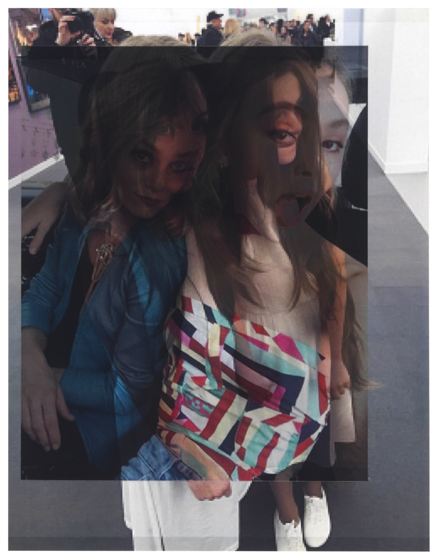 from vogue.com, October 2015 (Vanessa Paradis and Lily-Rose Depp at Fashion Week, Paris) / from The Art Newspaper, October 2015 (Siamese Hair Twins, a performance project for Luhring Augustine and Franco Noero galleries, with Tunga, at Frieze London)    10 3/8 x 8,  2 inkjet prints on mylar, constructed, one over the other, 2015-16