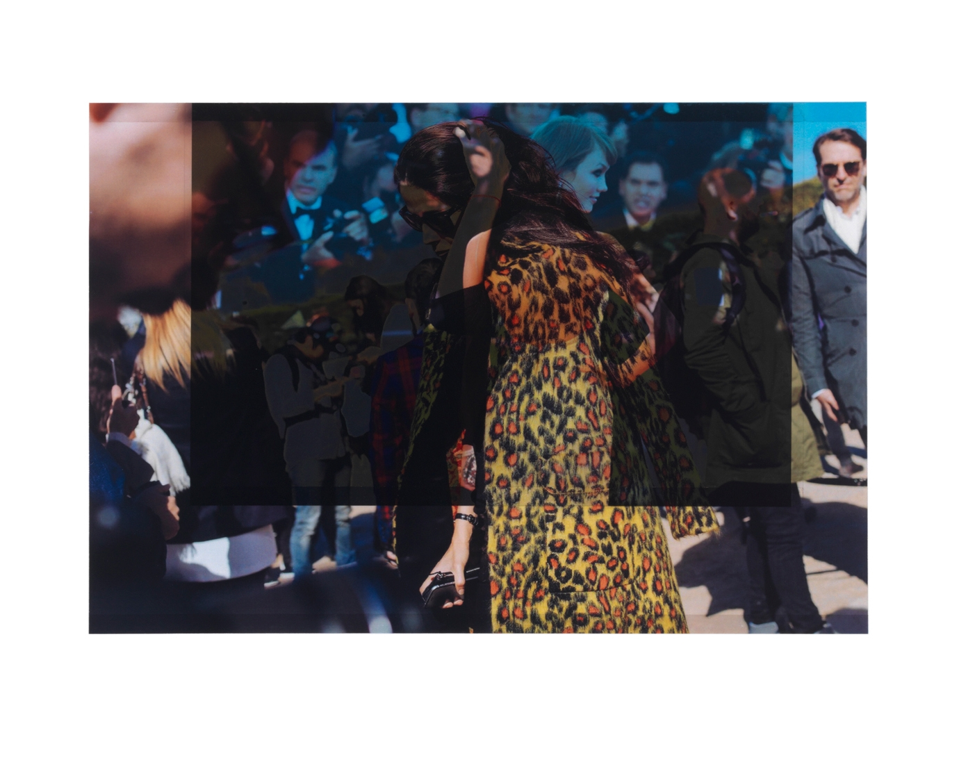 after Barbara Martelo, October 2015 (scene from Fashion Week, Paris) / from style.com, February 2014 (scene from Fashion Week, New York: what should Karlie Kloss do?)    9 1/4 x 10 3/4,  2 inkjet prints on mylar, constructed, one over the other, 2015-16
