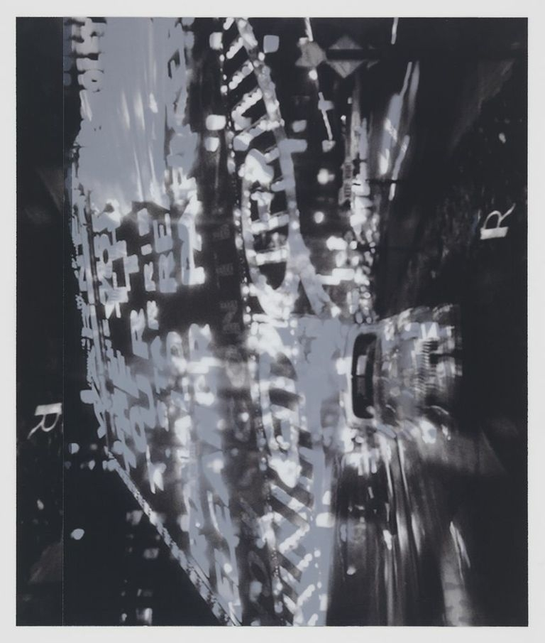after Ted Croner, 1947-8, New York (Times Square montage)    22x19,  2 inkjet prints on mylar, constructed, one over the other, 2012