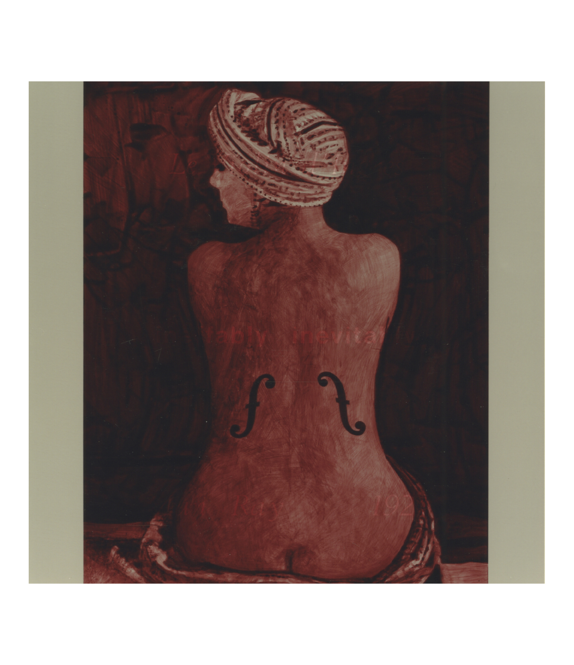 ineffably, inevitably  (after Man Ray, 1928 / Le Violon d'Ingres)    18x18, acrylic on MDF, 1994
