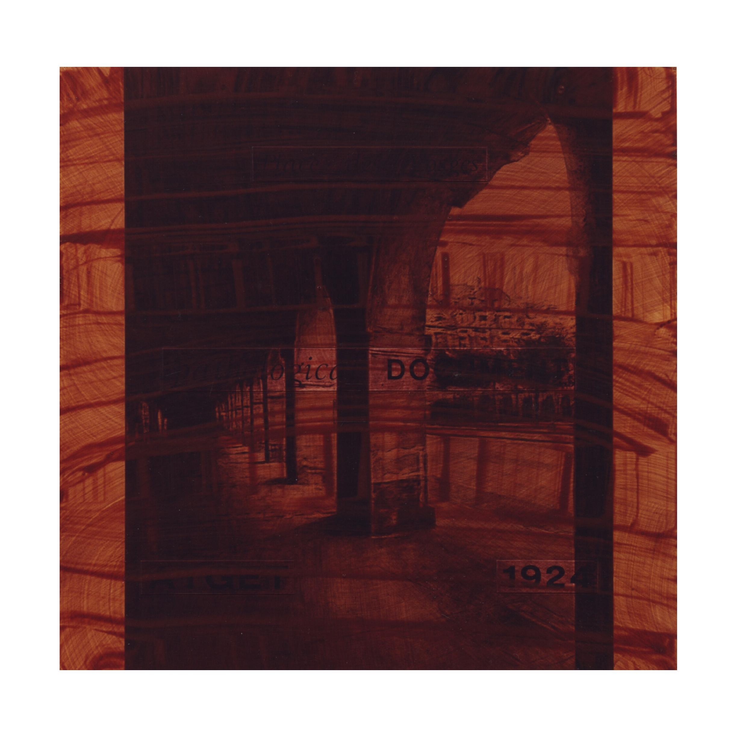 pathological  DOCUMENT  (after Atget, 1924 / Place des Vosges)    16x16, acrylic on MDF, 1995