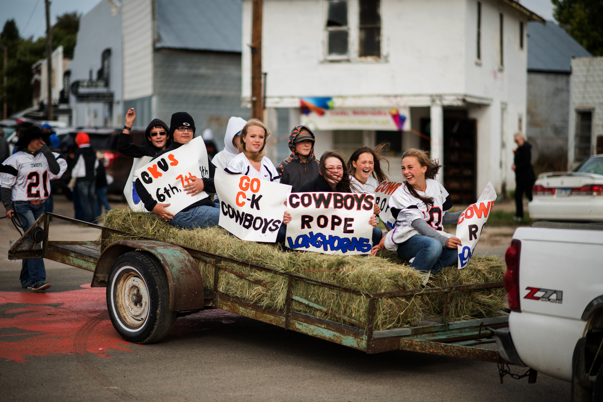 Friday of homecoming week started with a parade that included the school band, one float for every grade, a grand marshal and a cow. It took the group about 40 minutes to roll past the 10 buildings that make up downtown Cody.