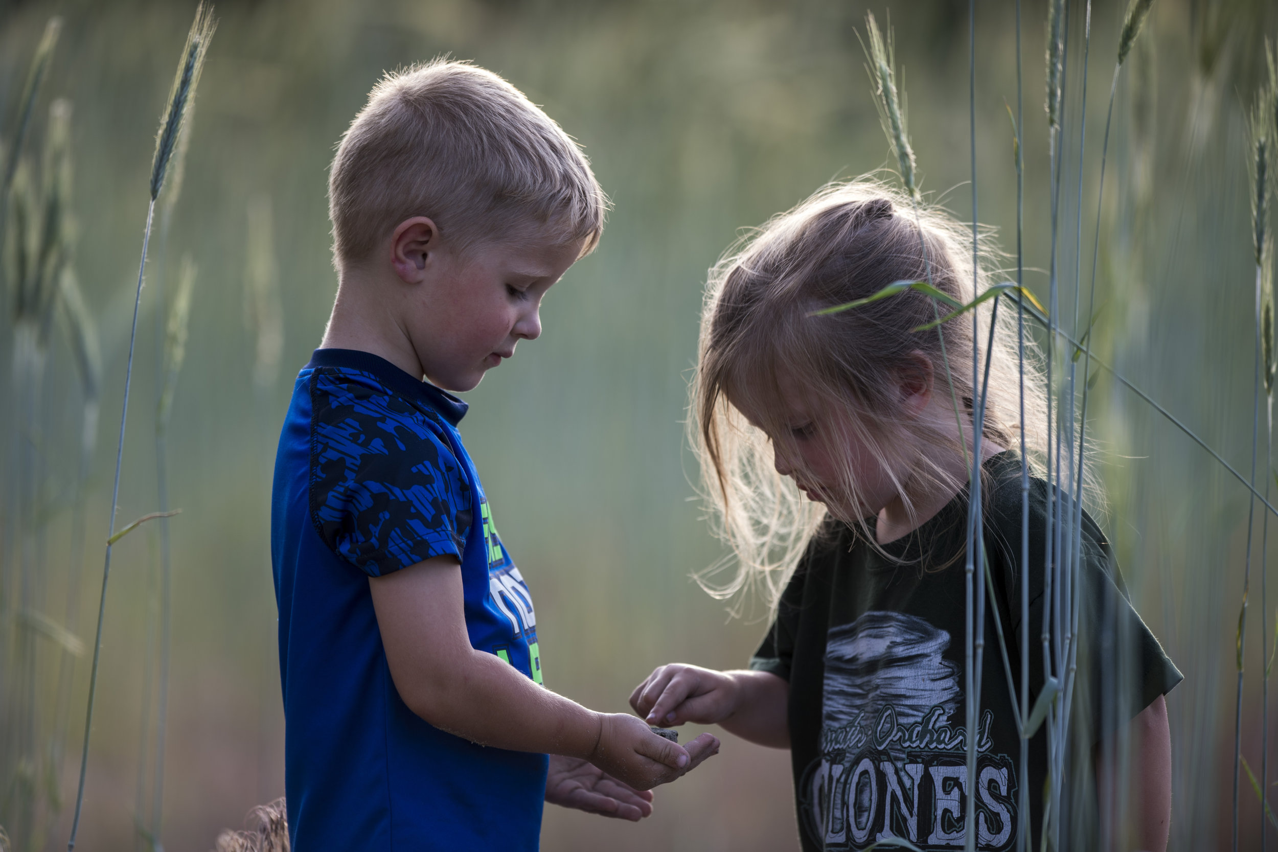 "Cousins Gabriel ""Gabe"" and Leah Kester examine a frog Gabe found by the river."