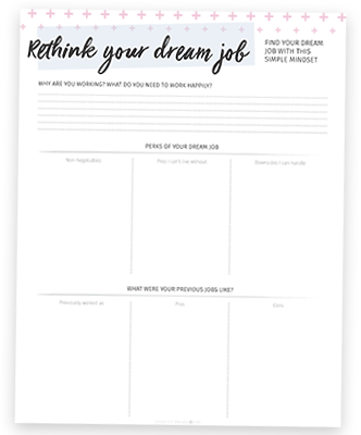 Confused about why your job isn't a good fit for you? Click through to learn how to rethink work so you can find your real dream job! (PLUS a free worksheet to make rethinking your dream job easy and fun!)